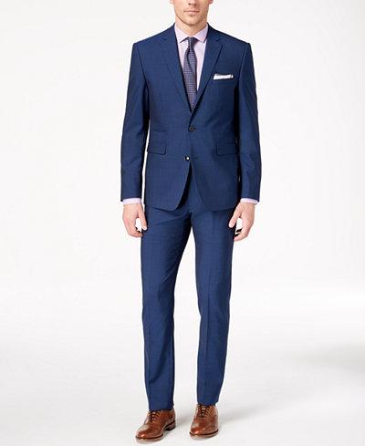 Vince Camuto Men's Slim-Fit Stretch Blue Solid Suit