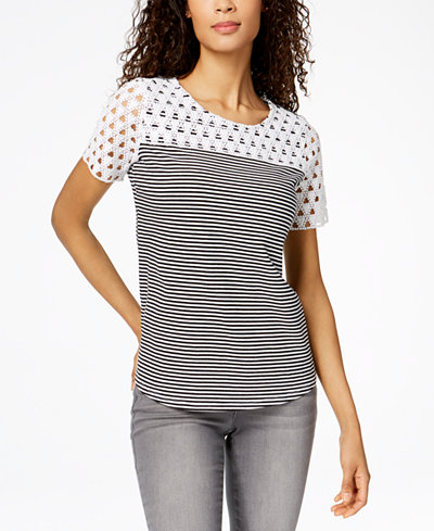 Charter Club Striped Crochet-Contrast T-Shirt, Created for Macy's