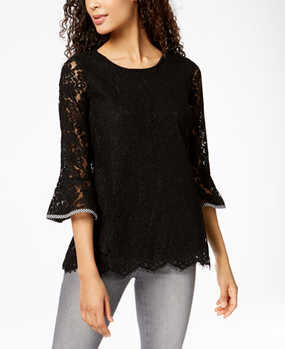 Charter Club Lace Bell-Sleeve Top, Created for Macy's