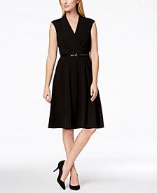 Calvin Klein Belted Fit & Flare Dress, Regular & Petite Sizes