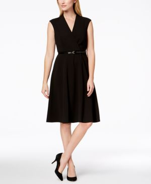 BELTED FIT & FLARE DRESS, REGULAR & PETITE SIZES