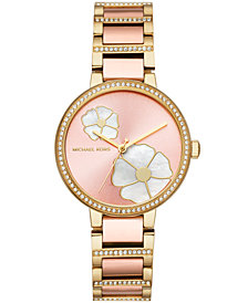 Michael Kors Women's Courtney Two-Tone Stainless Steel Bracelet Watch 36mm, Created for Macy's