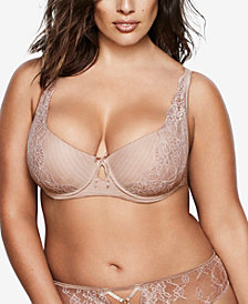 Ashley Graham Lingerie Plus Size Basic Diva Lace-Trim Keyhole Bra 401456