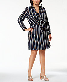 Monteau Trendy Plus Size Tie-Front Shirtdress