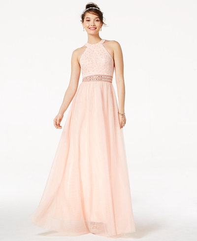 Blondie Nites Juniors' Embellished Lace Halter Ball Gown
