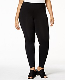 Plus Size Jersey Knit Ankle Leggings