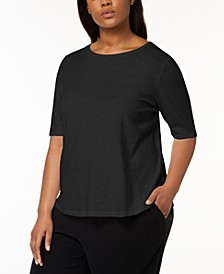 Plus Size Organic Cotton Elbow-Sleeve T-Shirt