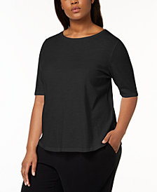 Eileen Fisher Plus Size SYSTEM Organic Cotton Elbow-Sleeve T-Shirt