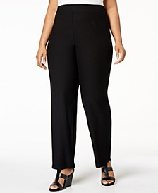 Plus Size SYSTEM Washable Crepe Straight-Leg Pants