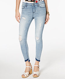 Celebrity Pink Juniors' Ripped Released-Hem Skinny Jeans