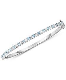 Blue Topaz (1-3/8 ct. t.w.) & White Topaz (1-3/8 ct. t.w.) Bangle Bracelet in Sterling Silver