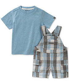 Calvin Klein 2-Pc. T-Shirt & Plaid Overall Set, Baby Boys