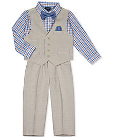 Nautica 4-Pc. Vest, Plaid Shirt, Pants & Bow Tie Set, Baby Boys