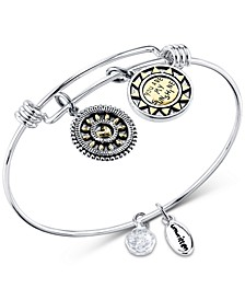 """Two-Tone Crystal Accented """"You Make Me Happy"""" Sun Charm Adjustable Bangle Bracelet in Stainless Steel"""