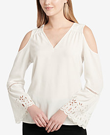 Calvin Klein Embroidered Cold-Shoulder Top