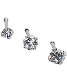 I.N.C. Stainless Steel 3-Pc. Set Cubic Zirconia Nose Studs, Created for Macy's