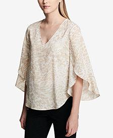 Calvin Klein V-Neck Flutter-Sleeve Blouse
