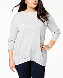 Style & Co Plus Size Asymmetrical-Hem Tunic Sweater, Created for Macy's