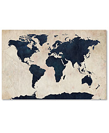 "Michael Tompsett 'World Map - Navy' 18"" x 28"" Canvas Print"