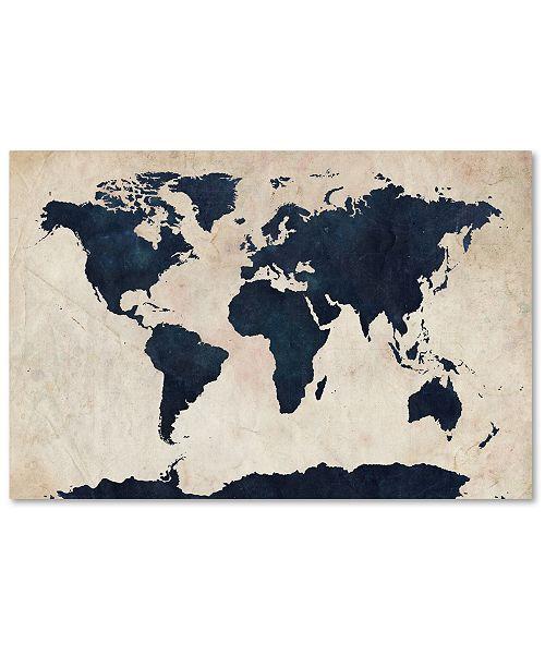 """Trademark Global Michael Tompsett 'World Map -Navy' Canvas Art - 32"""" x 22"""""""