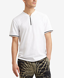 Kenneth Cole.Quarter Zip Mock-Collar T-Shirt