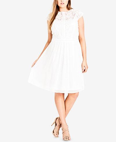City Chic Trendy Plus Size Lace-Bodice Illusion Dress