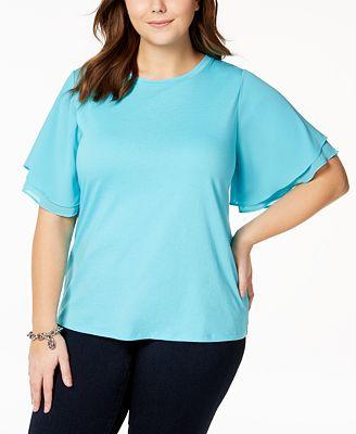 Michael Kors Plus Size Flutter Sleeve T Shirt Tops Plus Sizes
