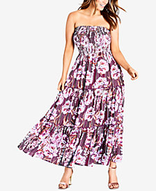 City Chic Trendy Plus Size Strapless Smocked Maxi Dress