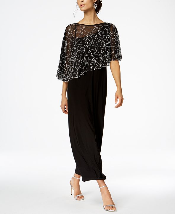 MSK Petite Beaded Overlay Gown