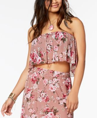 Juniors' Floral-Print Mesh Crop Top, Created for Macy's