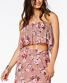 American Rag Juniors' Floral-Print Mesh Crop Top, Created for Macy's
