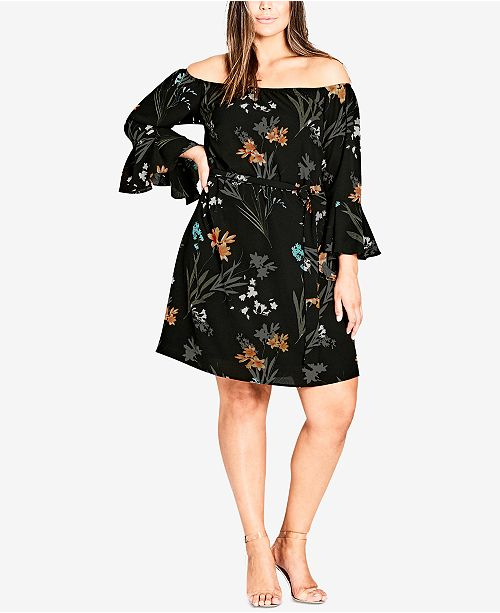 City Chic Trendy Plus Size Off The Shoulder Dress Dresses Plus