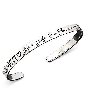 Inspirational Sterling Silver Bracelet, Love Life Be Brave Cuff