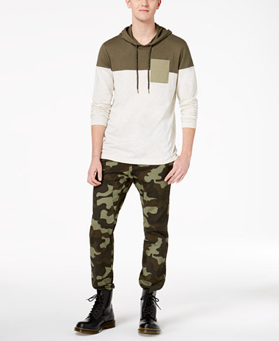 American Rag Men's Colorblocked Long Sleeve T-Shirt & Camouflage Moto Joggers, Created for Macy's