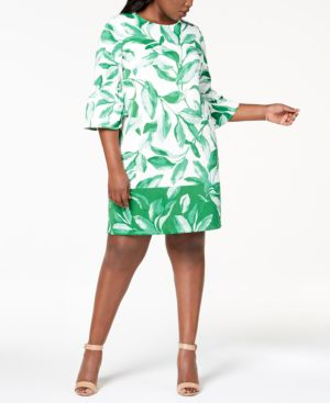 Image of Alfani Plus Size Printed Scuba Fit & Flare Dress, Created for Macy's