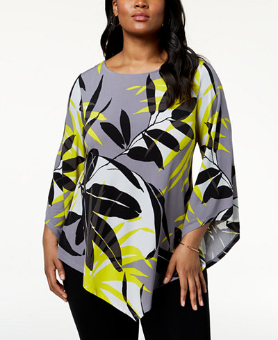 Alfani Plus Size Pointed-Hem Top, Created for Macy's