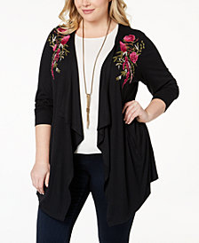 I.N.C. Plus Size Embroidered Draped Cardigan, Created for Macy's