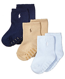 Ralph Lauren Baby Boys Crew Socks 3-Pack