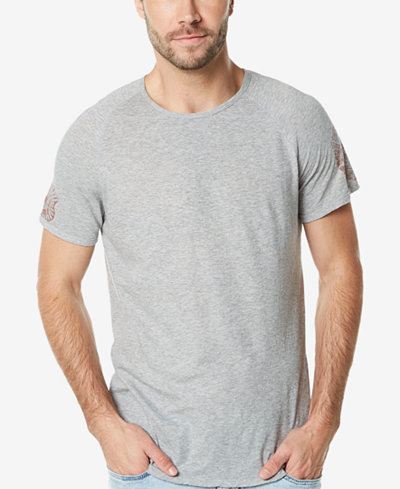 Buffalo David Bitton Men's Graphic-Print Chevron-Appliqué Raglan-Sleeve T-Shirt