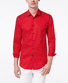 I.N.C. Men's Stretch Wheat-Print Shirt, Created for Macy's