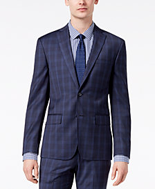 DKNY Men's Modern-Fit Stretch Blue Plaid Suit Jacket