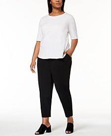 Plus Size Organic Cotton T-Shirt & Slouchy Slim-Fit Pants