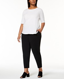 Eileen Fisher Plus Size Organic Cotton T-Shirt & Slouchy Slim-Fit Pants