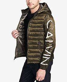 Calvin Klein Men's Mixed Media Hooded Jacket, Created for Macy's