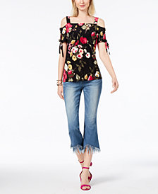 I.N.C. Printed Cold-Shoulder Top & Cropped Fringe-Trim Jeans, Created for Macy's