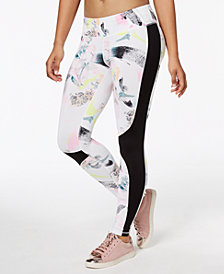 Material Girl Active Juniors' Printed Side-Stripe Yoga Leggings, Created for Macy's