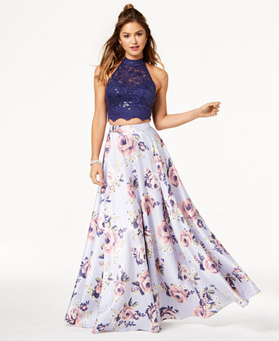 City Studios Juniors' Sequined Lace Printed 2-Pc. Gown, Created for Macy's