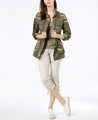 I.N.C. Petite Cotton Camouflage Print Utility Jacket, Created For Macy's by Inc International Concepts