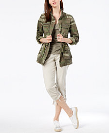 I.N.C. Petite Cotton Camouflage-Print Utility Jacket, Created for Macy's