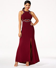 Morgan & Company Juniors' Embellished Illusion Gown